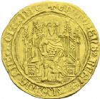 Photo numismatique  ARCHIVES VENTE 2013 -Coll J.R. BARONNIALES Duché d'AQUITAINE EDOUARD, prince noir (1352-1372) 162- Chaise d'or, frappée à Bordeaux.