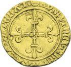 Photo numismatique  ARCHIVES VENTE 2013 -Coll J.R. ROYALES FRANCAISES CHARLES VIII (20 août 1483-7 avril 1498)  60- Demi-écu d'or au soleil de la 1ère émission (11 septembre 1483), frappé à Paris (1489-1498).