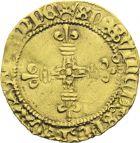 Photo numismatique  ARCHIVES VENTE 2013 -Coll J.R. ROYALES FRANCAISES LOUIS XI (22 juillet 1461-30 août 1483)  58- Demi-écu d'or au soleil, frappé à Toulouse (2 novembre 1475).