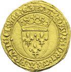 Photo numismatique  ARCHIVES VENTE 2013 -Coll J.R. ROYALES FRANCAISES CHARLES VII (30 octobre 1422-22 juillet 1461)  55- Demi-écu d'or à la couronne, 2ème émission (12 août 1445), frappé à Paris.