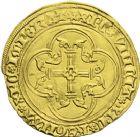 Photo numismatique  ARCHIVES VENTE 2013 -Coll J.R. ROYALES FRANCAISES CHARLES VII (30 octobre 1422-22 juillet 1461) Monnayage du duc de Bourgogne 54- Ecu d'or à la couronne du 3ème type, ou écu neuf de la 1ère émission (26 janvier 1436), frappé à Saint-Quenti