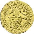 Photo numismatique  ARCHIVES VENTE 2013 -Coll J.R. ROYALES FRANCAISES CHARLES VI (16 septembre 1380-21 octobre 1422)  47- Demi-heaume d'or (1418 ? Non prévu dans l'ordonnance du 21 octobre 1417), frappé à La Rochelle.