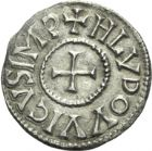 Photo numismatique  ARCHIVES VENTE 2013 -Coll J.R. CAROLINGIENS LOUIS LE PIEUX, empereur (janvier 814-20 juin 840)  17- Denier frappé à Paris jusqu'en 823.