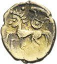 Photo numismatique  ARCHIVES VENTE 2013 -Coll J.R. GAULE - CELTES BITURIGES CUBI (région de Bourges)  15- Quart de statère en or bas,(fin du 2ème siècle-premier tiers du 1er siècle).