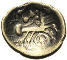 Photo numismatique  ARCHIVES VENTE 2013 -Coll J.R. GAULE - CELTES EST de la Gaule (entre Saône et Jura et Helvètes)  14A- Quart de statère à la roue en or bas, (fin du 2ème siècle-premier tiers du 1er siècle)