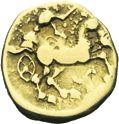Photo numismatique  ARCHIVES VENTE 2013 -Coll J.R. GAULE - CELTES CENTRE-EST ET EST DE LA GAULE  13- Quart de statère d'or, (2ème siècle avant JC).