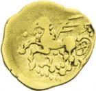 Photo numismatique  ARCHIVES VENTE 2013 -Coll J.R. IBERIE- GAULE - CELTES AULERQUES EBUROVICES (région d'Evreux)   12- Quart de statère d'or au griffon ailé, (2e siècle jusqu'à la guerre des Gaules).