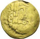 Photo numismatique  ARCHIVES VENTE 2013 -Coll J.R. GAULE - CELTES AULERQUES EBUROVICES (région d'Evreux)  11- Quart de statère d'or à l'aile de pégase, (2e siècle jusqu'à la guerre des Gaules).