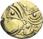 Photo numismatique  ARCHIVES VENTE 2013 -Coll J.R. GAULE - CELTES AULERQUES EBUROVICES (région d'Evreux)  10- Hémistatère d'or au sanglier, (2e siècle jusqu'à la guerre des Gaules).