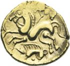 Photo numismatique  ARCHIVES VENTE 2013 -Coll J.R. IBERIE- GAULE - CELTES AULERQUES EBUROVICES (région d'Evreux)  10- Hémistatère d'or au sanglier, (2e siècle jusqu'à la guerre des Gaules).
