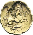 Photo numismatique  ARCHIVES VENTE 2013 -Coll J.R. GAULE - CELTES AULERQUES EBUROVICES (région d'Evreux)  9- Hémistatère d'or au sanglier, (2e siècle jusqu'à la guerre des Gaules).