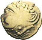 Photo numismatique  ARCHIVES VENTE 2013 -Coll J.R. GAULE - CELTES AULERQUES EBUROVICES (région d'Evreux)  8- Hémistatère d'or bas au sanglier, (2e siècle jusqu'à la guerre des Gaules).