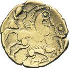 Photo numismatique  ARCHIVES VENTE 2013 -Coll J.R. IBERIE- GAULE - CELTES AULERQUES EBUROVICES (région d'Evreux)  8- Hémistatère d'or bas au sanglier, (2e siècle jusqu'à la guerre des Gaules).
