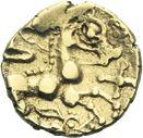 Photo numismatique  ARCHIVES VENTE 2013 -Coll J.R. GAULE - CELTES AULERQUES EBUROVICES (région d'Evreux)  7- Quart de statère d'or au loup et à la joue tatouée, (2e siècle jusqu'à la guerre des Gaules).