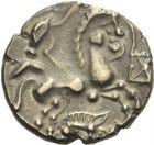 Photo numismatique  ARCHIVES VENTE 2013 -Coll J.R. GAULE - CELTES BASSE-NORMANDIE  6- Statère de billon aurifère aux sangliers, (fin du 2e siècle et première moitié du 1er siècle).