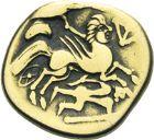 Photo numismatique  ARCHIVES VENTE 2013 -Coll J.R. IBERIE- GAULE - CELTES AULERQUES CENOMANS (région du Mans)  3- Statère d'or au personnage aptère aux deux armes, (2ème siècle avant JC).