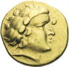 Photo numismatique  ARCHIVES VENTE 2013 -Coll J.R. IBERIE- GAULE - CELTES AULERQUES CENOMANS (région du Mans)  2-  Statère d'or, (2ème siècle avant JC).