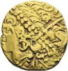 Photo numismatique  ARCHIVES VENTE 2013 -Coll J.R. GAULE - CELTES AMBIANI (Bassin de la Somme)  1-  Statère d'or au flan large, (2ème siècle avant JC).