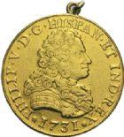 Photo numismatique  MONNAIES MONNAIES DU MONDE ESPAGNE PHILIPPE V (1700-1746) 8 escudos or, Séville 1731.