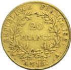 Photo numismatique  MONNAIES MODERNES FRANÇAISES NAPOLEON Ier, empereur (18 mai 1804- 6 avril 1814)  20 francs or, Paris an 12.