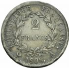 Photo numismatique  MONNAIES MODERNES FRANÇAISES NAPOLEON Ier, empereur (18 mai 1804- 6 avril 1814)  2 francs, Paris 1808.