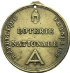 Photo numismatique  MEDAILLES MODERNES FRANÇAISES LE DIRECTOIRE (27 octobre 1795-10 novembre 1799)  Loterie Nationale de la République.