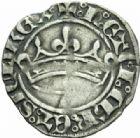 Photo numismatique  MONNAIES BARONNIALES Comté de PROVENCE LOUIS Ier et JEANNE (1349-1362) Provençal ou blanc à la couronne.