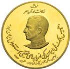 Photo numismatique  MEDAILLES MONNAIES DU MONDE IRAN MOHAMMED REZA PAHLEVI (1942-1979) Médaille d'or, le Shah et son père, 1357 = 1978.