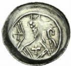 Photo numismatique  MONNAIES BARONNIALES Evêché de STRASBOURG (XIIIe siècle) Denier à l'abbé et agneau.