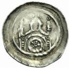 Photo numismatique  MONNAIES BARONNIALES Evêché de STRASBOURG (XIIIe siècle) Denier à l'abbé et édifice avec roue.
