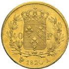 Photo numismatique  MONNAIES MODERNES FRANÇAISES LOUIS XVIII, 2e restauration (8 juillet 1815-16 septembre 1824)  40 francs or, Paris, 1820.