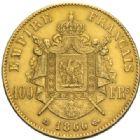 Photo numismatique  MONNAIES MODERNES FRANÇAISES NAPOLEON III, empereur (2 décembre 1852-1er septembre 1870)  100 francs or, Strasbourg 1866.