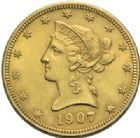 Photo numismatique  MONNAIES MONNAIES DU MONDE ÉTATS-UNIS d'AMÉRIQUE du NORD  10 dollars or, 1907.