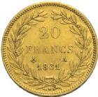 Photo numismatique  MONNAIES MODERNES FRANÇAISES LOUIS-PHILIPPE Ier (9 août 1830-24 février 1848)  20 francs or, 1831.