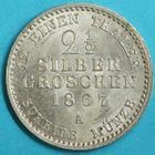 Photo numismatique  MONNAIES MONNAIES DU MONDE ALLEMAGNE PRUSSE, Guillaume 1er (1861-1888) 2 gros et demi de 1867.