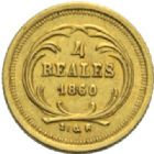 Photo numismatique  MONNAIES MONNAIES DU MONDE GUATEMALA République 4 reales or, 1860.