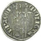 Photo numismatique  MONNAIES BARONNIALES Duché de LORRAINE FERRI IV (1312-1329) Spadin ou 1/4 de gros au duc debout, Nancy.