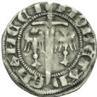 Photo numismatique  MONNAIES BARONNIALES Duché de LORRAINE FERRI IV (1312-1329) Spadin ou quart de gros au cavalier, Nancy.