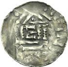 Photo numismatique  MONNAIES BARONNIALES Evêché de METZ THIERRY II de Luxembourg (1005-1047) Denier au nom du roi Henri (1002-1014).