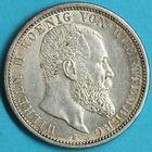 Photo numismatique  MONNAIES MONNAIES DU MONDE ALLEMAGNE WURTEMBERG, Guillaume II (1891-1918) 2 Mark de 1907.