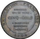 Photo numismatique  ARCHIVES VENTE 2014 -Coll J P Dixméras MÉDAILLES ET JETONS LOUIS XVI (1774-1793) et RÉVOLUTION FRANÇAISE MONNAIES DE PARTICULIERS, ESSAI MONÉTAIRE, INSIGNES 1677- 5 sols à l'Hercule des frères Monneron, 1792.