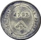 Photo numismatique  ARCHIVES VENTE 2014 -Coll J P Dixméras MÉDAILLES ET JETONS LOUIS XVI (1774-1793) et RÉVOLUTION FRANÇAISE  1659- Insigne, 1792.