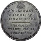 Photo numismatique  ARCHIVES VENTE 2014 -Coll J P Dixméras MEDAILLES ET JETONS LOUIS XVI (1774-1793) et RÉVOLUTION FRANÇAISE  1653- Matrice uniface de la Fédération de Paris, le 14 juillet 1790.
