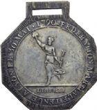 Photo numismatique  ARCHIVES VENTE 2014 -Coll J P Dixméras MÉDAILLES ET JETONS LOUIS XVI (1774-1793) et RÉVOLUTION FRANÇAISE  1651- Insigne de la Fédération martiale du 30 mai 1790.