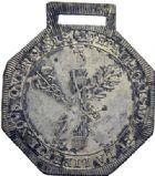 Photo numismatique  ARCHIVES VENTE 2014 -Coll J P Dixméras MEDAILLES ET JETONS LOUIS XVI (1774-1793) et RÉVOLUTION FRANÇAISE  1651- Insigne de la Fédération martiale du 30 mai 1790.