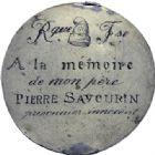 Photo numismatique  ARCHIVES VENTE 2014 -Coll J P Dixméras MEDAILLES ET JETONS LOUIS XVI (1774-1793) et RÉVOLUTION FRANÇAISE  1650- Plaquette uniface gravée en creux, à P. Savourin.