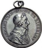 Photo numismatique  ARCHIVES VENTE 2014 -Coll J P Dixméras MÉDAILLES ET JETONS LOUIS XIII (1610-1643) et son époque  1630- Cardinal de Richelieu. 1630- Le Cardinal de Richelieu, 1634. Jeton d'argent cerclé avec bélière et anneau.