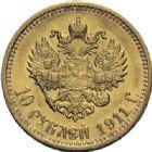 Photo numismatique  ARCHIVES VENTE 2014 -Coll J P Dixméras MONNAIES DU MONDE RUSSIE NICOLAS II (1894-1917) 1626- 10 roubles or, 1911.