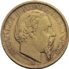 Photo numismatique  ARCHIVES VENTE 2014 -Coll J P Dixméras MONNAIES DU MONDE MONACO CHARLES III (1856-1889) 1621- 100 francs or, Paris 1886.