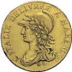 Photo numismatique  ARCHIVES VENTE 2014 -Coll J P Dixméras MONNAIES DU MONDE ITALIE REPUBLIQUE SUBALPINE (1800-1802) 1618- 20 francs or dite « Marengo », Turin an 10.